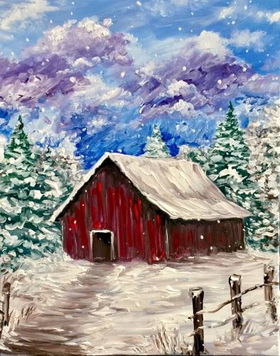 A Peaceful Winter Barn paint nite project by Yaymaker