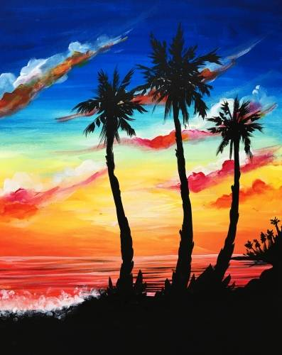 A Palm Tree Sunset paint nite project by Yaymaker