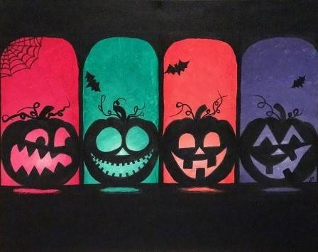 A Halloween Lights paint nite project by Yaymaker