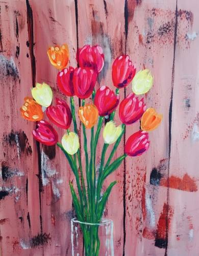 A Rustic Fall Tulips paint nite project by Yaymaker