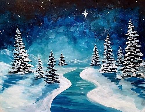 A Silent Night River paint nite project by Yaymaker