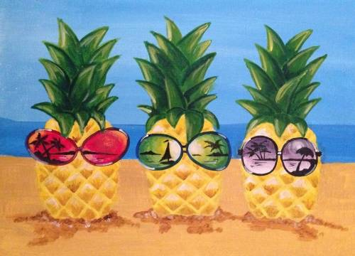 A Sunshine Pineapples paint nite project by Yaymaker