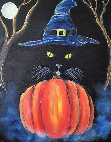 A Halloween Feline Trickery paint nite project by Yaymaker