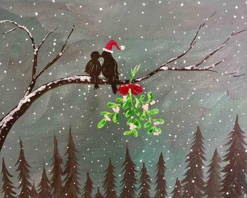 A Holiday Mistletoe Kiss paint nite project by Yaymaker
