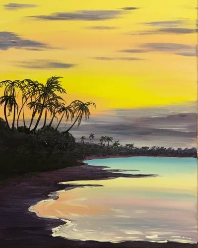 A Coastal Sunset paint nite project by Yaymaker