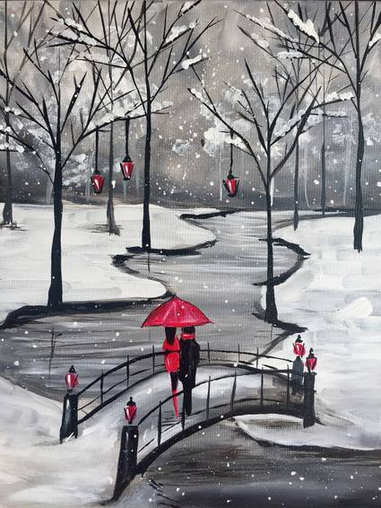 A Loving You through the Snow Storm paint nite project by Yaymaker