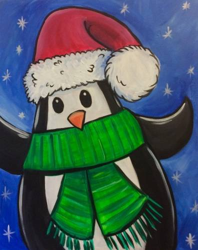 A The Christmas Penguin paint nite project by Yaymaker