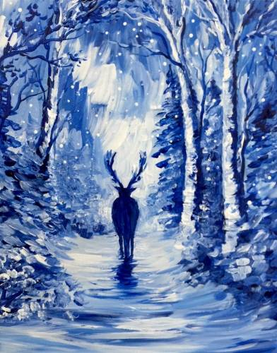 A A Winter Stag paint nite project by Yaymaker