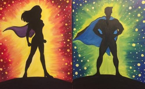 A The Dream Team Partner Painting paint nite project by Yaymaker