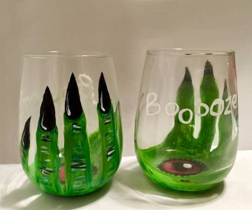 A Eye of Newt Stemless Wine Glasses paint nite project by Yaymaker