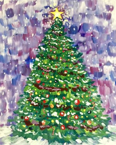 A Decorate Your Own Christmas Tree paint nite project by Yaymaker