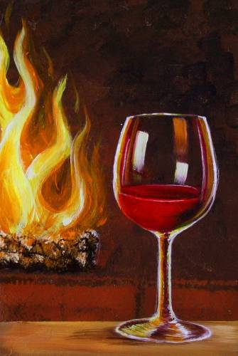 A Wine By the Fireplace paint nite project by Yaymaker