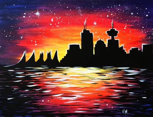A Vancouver Sunset paint nite project by Yaymaker