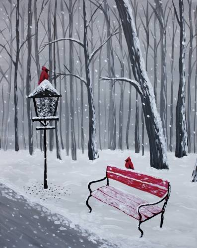A Snowy Winter Cardinals paint nite project by Yaymaker