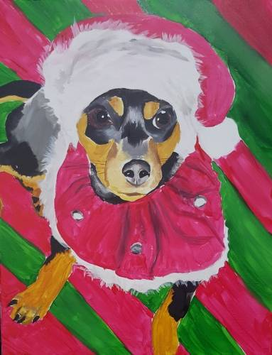 A Paint Your Pet for the Howlidays paint nite project by Yaymaker