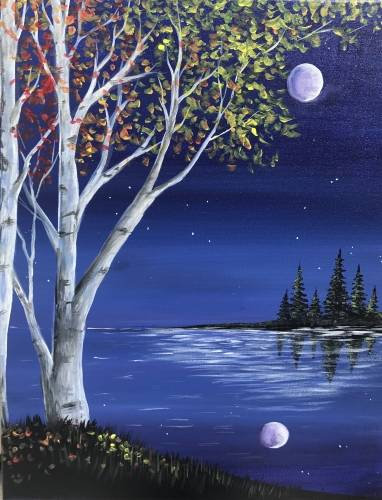 A Trees Under the Sapphire Sky paint nite project by Yaymaker