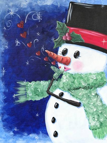 A Snowman Kisses paint nite project by Yaymaker