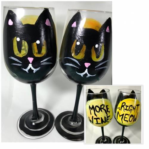 A More WineRight Meow Wine Glasses paint nite project by Yaymaker