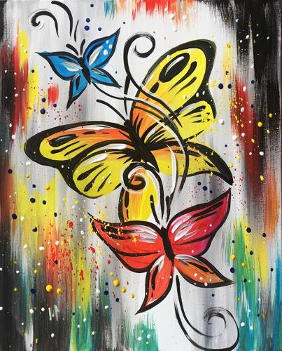 A Butterfly Confetti paint nite project by Yaymaker