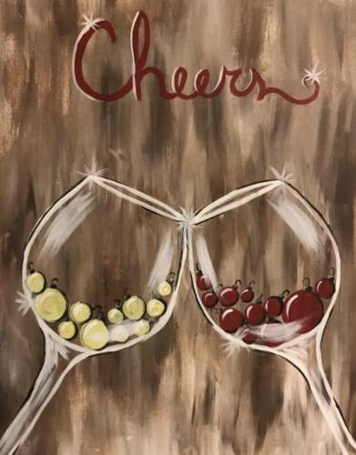 A Cheers to the New Years paint nite project by Yaymaker