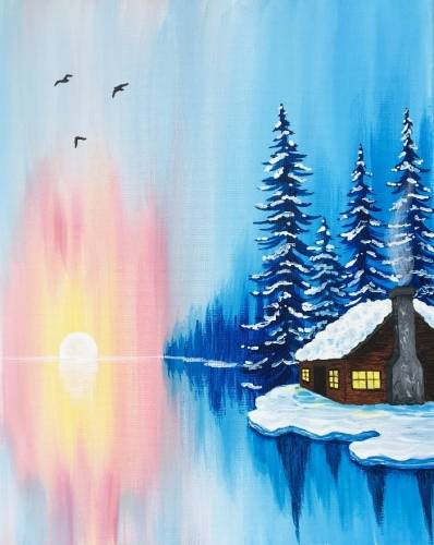 A Winter Cabin Sunrise paint nite project by Yaymaker