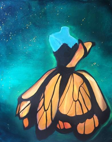 A Monarch Butterfly Dress paint nite project by Yaymaker
