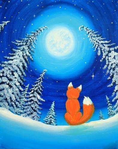 A Fox in the Winter Grove paint nite project by Yaymaker