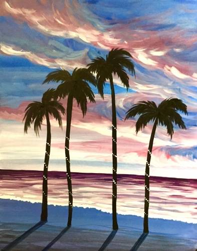 A Dusk on the Beach paint nite project by Yaymaker
