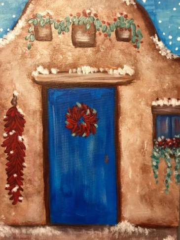 A A Santa Fe Christmas paint nite project by Yaymaker