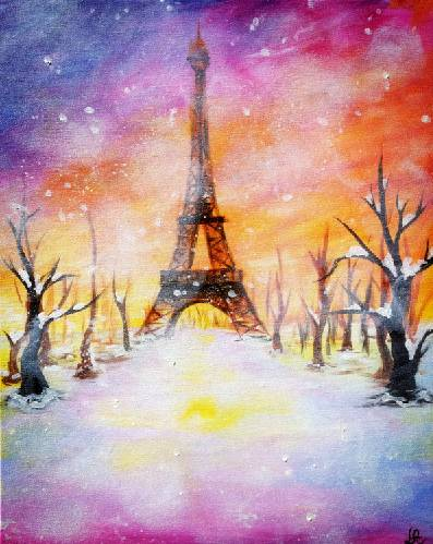 A Winter Paris Sunset paint nite project by Yaymaker