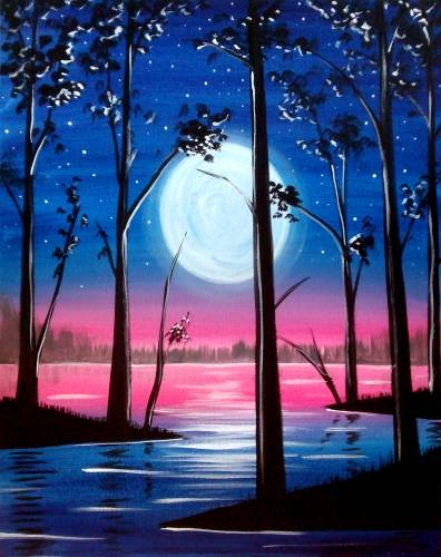 A Starry Moonlight paint nite project by Yaymaker