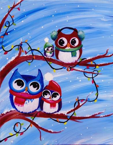 A Happy Owlidays paint nite project by Yaymaker