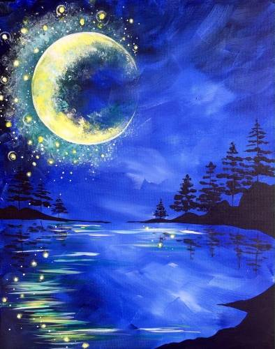 A Winter Moon Blues paint nite project by Yaymaker