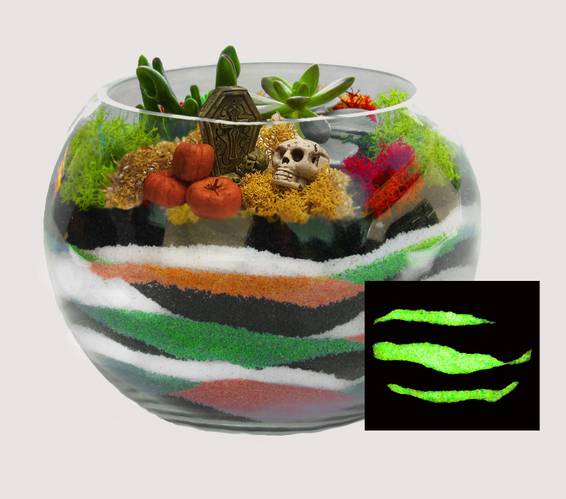 A Halloween Spooktacular Sand Art Bowl plant nite project by Yaymaker