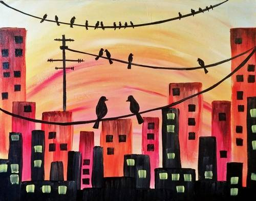 A City Birds Hangout paint nite project by Yaymaker