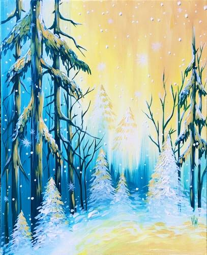 A Frozen Winter Landscape paint nite project by Yaymaker