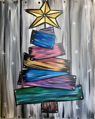 A Barn Board Christmas Tree paint nite project by Yaymaker