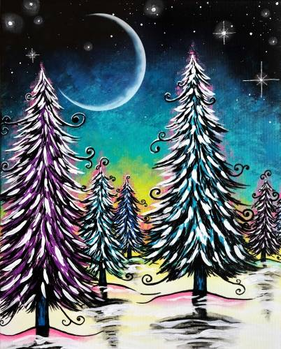 A Snowy Moonlight paint nite project by Yaymaker