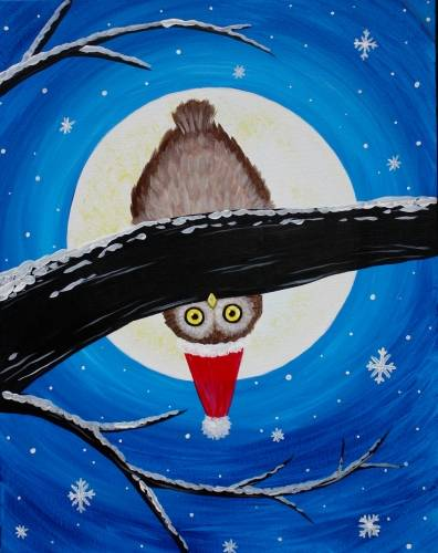 A Hello Holiday Owl paint nite project by Yaymaker