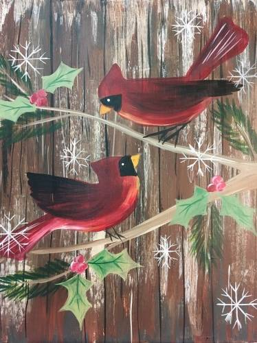 A Holiday Cardinals paint nite project by Yaymaker