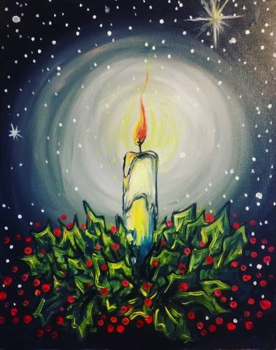 A Christmas By Candle paint nite project by Yaymaker