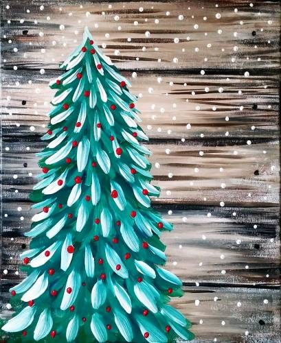 A Rustic Christmas Tree paint nite project by Yaymaker