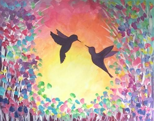 A Sunset Hummingbirds paint nite project by Yaymaker
