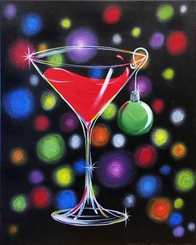 A Sexy Christmas Cocktail paint nite project by Yaymaker