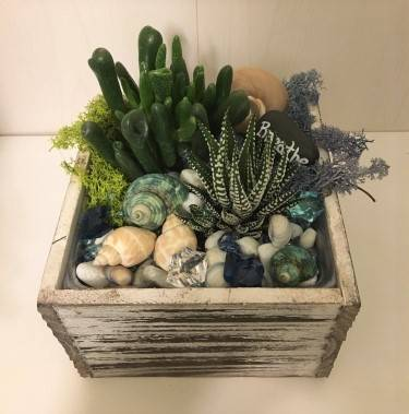 A Beach Vibes Succulents in Wooden Cube plant nite project by Yaymaker