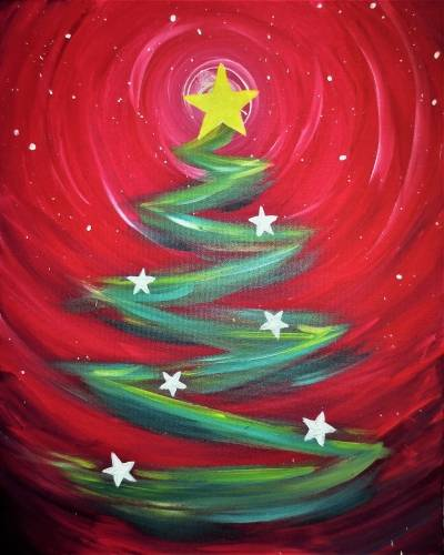 A Star Christmas Tree paint nite project by Yaymaker
