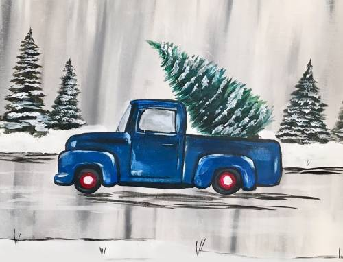 A Finding the Perfect Christmas Tree paint nite project by Yaymaker
