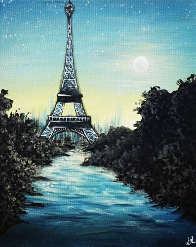 A Teal Paris Sunset paint nite project by Yaymaker