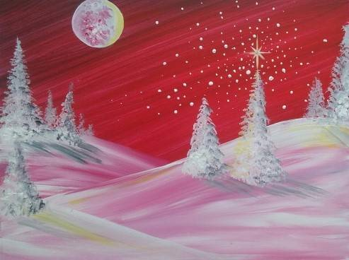 A The Chosen Winter Tree paint nite project by Yaymaker