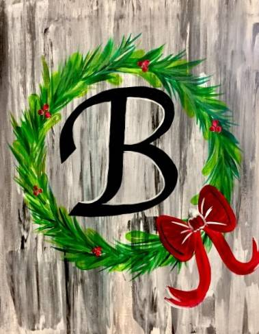 A Christmas Wreath Monogram paint nite project by Yaymaker